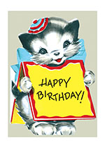 Kitten Wearing Sign (Birthday Greeting Cards)
