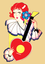 Art Deco Woman With Heart Guitar (Bridge Table Deco Graphic Design Greeting Cards)