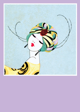Art Deco Woman Turban (Bridge Table Deco Graphic Design Greeting Cards)