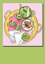 Art Deco Tea Time Blank (Bridge Table Deco Graphic Design Greeting Cards)