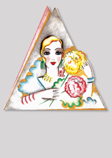 Art Deco Woman With Flowers (Bridge Table Deco Graphic Design Greeting Cards)