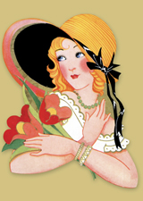 Art Deco Woman in Straw Hat (Bridge Table Deco Graphic Design Greeting Cards)