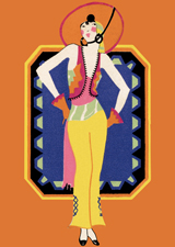 Art Deco Beach Lady (Bridge Table Deco Graphic Design Art Prints)