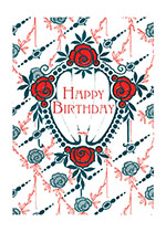 Art Nouveau Red Flowers (Birthday Greeting Cards)