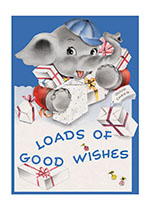 Elephant With Gifts (Birthday Greeting Cards)