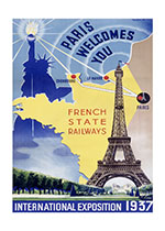 Paris Welcomes You (European Glamor Travel Art Prints)