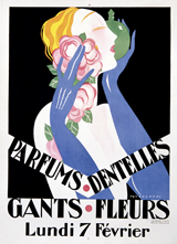 Parums Dentelles - A Lady With Blue Gloves (Vintage Cosmetics Graphic Design Art Prints)