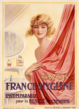 A Lady in Her Bath - Soap Advertisement (Vintage Cosmetics Graphic Design Art Prints)