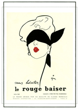 The Perfect Red Lipstick (Vintage Cosmetics Graphic Design Greeting Cards)