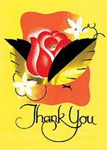 Thank You with a Red Rose (Thank You Greeting Cards)