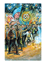 Boys With Fireworks (Classic 4th of July Greeting Cards)
