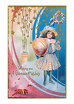 Girl With Lanterns & Fireworks (Classic 4th of July Greeting Cards)
