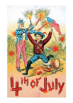 Patriot w/ Fireworks (Classic 4th of July Greeting Cards)