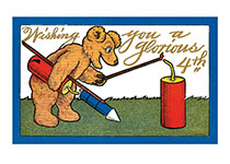 Bear With Fireworks (Classic 4th of July Greeting Cards)