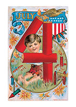 Boy With Eagle and Fireworks (Classic 4th of July Greeting Cards)