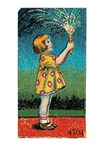 Girl With Sparkler (Classic 4th of July Greeting Cards)
