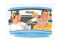 Family in Car c. 1950's (Family Art Prints)