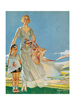 Flying a Kite with Mother (Family Art Prints)