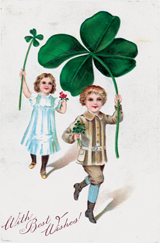 Children Carrying Four Leaf Clovers (St. Patrick's Day Greeting Cards)
