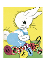 Rabbit w/ Paint Brush - Greeting Card