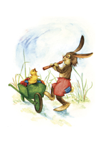 Rabbit Playing Flute - Greeting Card