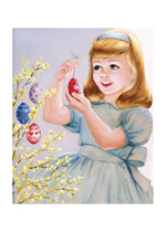 Easter Eggs and Girl (Easter Greeting Cards)
