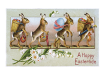 Rabbits w/ Easter Eggs - Greeting Card