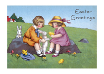 Children With Chick and Rabbit (Easter Greeting Cards)