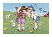 Children With Rabbits (Easter Greeting Cards)