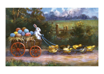 Easter Rabbit Driving Wagon Filled With Eggs (Easter Greeting Cards)