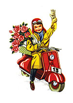 A Boy Delivering Champagne and Roses (Boys Children Art Prints)