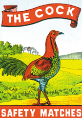 The Cock: Safety Matches (Matchbox Labels Graphic Design Greeting Cards)