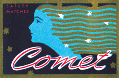 Comet Safety Matches (Matchbox Labels Graphic Design Greeting Cards)