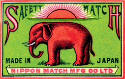 Elephant Safety Match: Nippon Match Mfg. Co. (Matchbox Labels Graphic Design Art Prints)