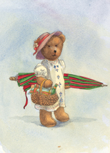 A Teddy Bear Headed For A Picnic (Teddy Bears Art Prints)