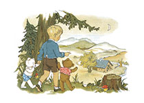 A Boy Walking With His Teddy Bears (Boys Children Art Prints)