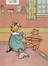 Teddy Bear Helping With The Knitting (Teddy Bears Art Prints)