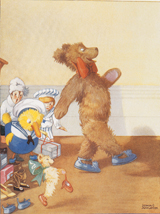 Teddy Bear Leads the Toy Procession (Teddy Bears Art Prints)