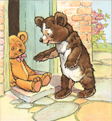 Bear and Teddy Bear Encounter (Teddy Bears Art Prints)