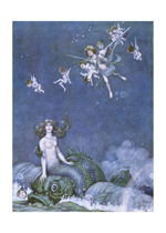 And Heard a Mermaid Upon a Dolphin's Back - A Midsummer Night's Dream (Mermaids Art Prints)