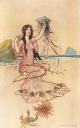 Nymph With Jellyfish (Women Greeting Cards)
