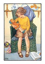 Girl in Green Chair w/ Doll (Dolls Greeting Cards)
