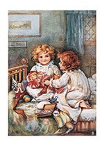 Sisters and Dolls (Girls Children Greeting Cards)