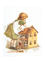 Girl With Dollhouse (Girls Children Art Prints)