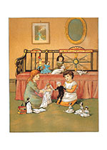 Girls Playing With Dolls (Girls Children Art Prints)