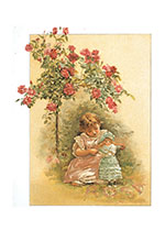 Girl and Doll Under Roses (Girls Children Greeting Cards)