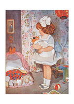 Girl w/ White Bow & Doll (Dolls Art Prints)