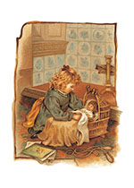 Girl & Doll Wicker Crib Card (Girls Children Greeting Cards)