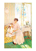 Mother In Pink Dress (Books and Readers Art Prints)