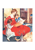 Mother in Red Dress Reading (Books and Readers Greeting Cards)